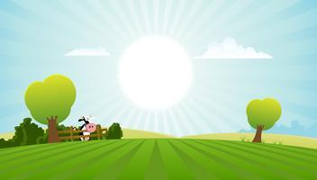 Vacca da latte nel paesaggio estivo vettore
