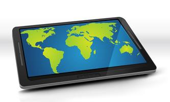 Mappa del mondo su Tablet PC vettore