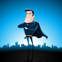 cartone animato supereroe blu vettore