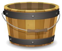 Secchio di legno dei cartoni animati vettore