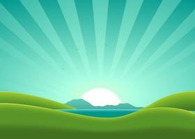 cartone animato paesaggio estivo lago vettore