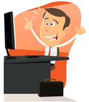 Uomo felice sul web vettore