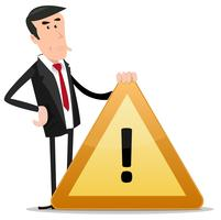 Uomo d'affari segnale di avvertimento vettore