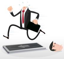 Uomo d'affari senza testa del fumetto che funziona su un tapis roulant