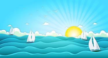 Barche a vela nel vasto oceano estivo vettore