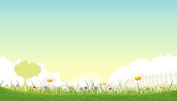 Bella primavera paesaggio di sfondo vettore