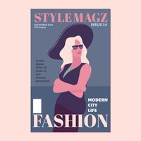 Bella giovane donna con cappello e occhiali da sole sulla copertina della rivista di moda vettore
