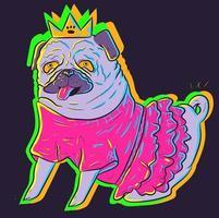 carino carlino al neon in un abito tutu rosa che indossa una corona. arte vettoriale di un animale in costume sotto luci incandescenti uv. piccolo adorabile cane seduto e mostrando la lingua