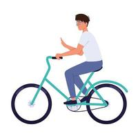 giovane uomo in bicicletta vettore