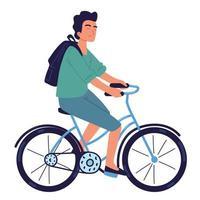 ragazzo in sella a bici vettore