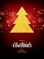 Albero di Natale con design di festa di riempimento glitter