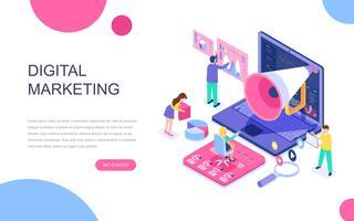 Concetto isometrico moderno design piatto di Digital Marketing vettore