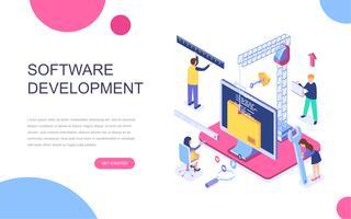 Concetto isometrico moderno design piatto di sviluppo software vettore