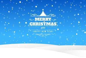 Cartolina di Natale allegra con sfondo blu di paesaggio vettore