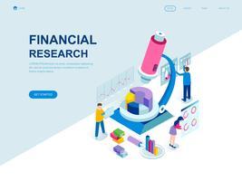 Concetto isometrico moderno design piatto di ricerca finanziaria vettore
