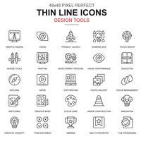 Set di icone di strumenti di design, arte e media di linea sottile