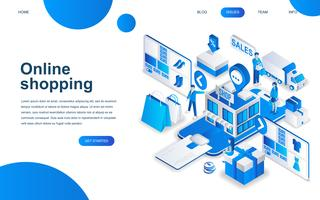 Concetto di design isometrico moderno di Shopping online