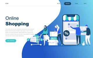 Moderno concetto di design piatto di shopping online