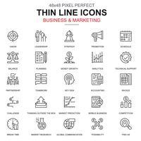 Linea sottile business e marketing set di icone vettore