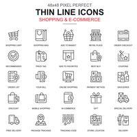 Set di icone di shopping online ed e-commerce linea sottile vettore