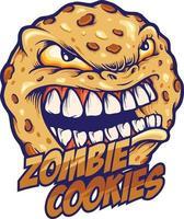 biscotto mascotte zombie arrabbiato vettore