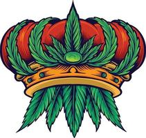 mascotte di canapa corona di cannabis cannabis vettore