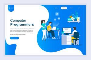 Moderno concetto di design piatto di programmatori di computer vettore
