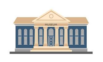 vettore piatto colorato illustrazione esterno dell'edificio del museo con titolo e colonne isolati su sfondo bianco. architettura della città edificio del governo pubblico. museo d'arte di pittura moderna