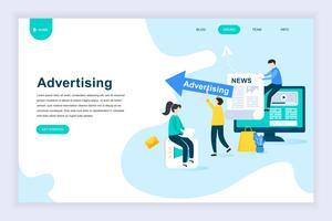 Moderno concetto di design piatto di pubblicità e promozione