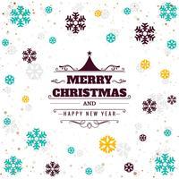 Bella carta buon Natale con il festival colorato fiocco di neve