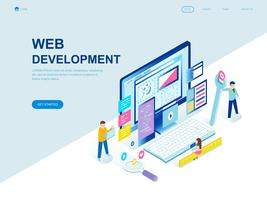 Concetto isometrico moderno design piatto di sviluppo Web vettore