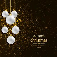 Palla decorativa della cartolina di Natale allegra con il fondo degli scintillii