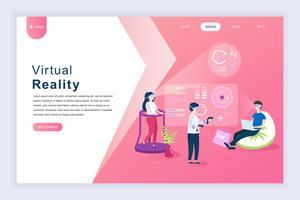 Moderno concetto di design piatto di realtà virtuale aumentata