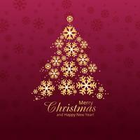 Illustrazione di progettazione di carta di Buon Natale dell'albero del fiocco di neve vettore