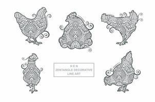 vettore di mandala di gallina. elementi decorativi d'epoca. modello orientale, illustrazione vettoriale.