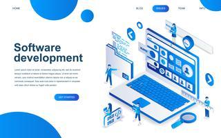 Concetto di design isometrico moderno di sviluppo software vettore