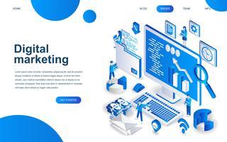 Concetto di design isometrico moderno di Digital Marketing