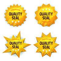 sigilli di qualità premium in oro cartone animato vettore