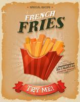 Poster di patatine fritte d'epoca e grunge