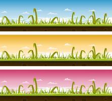 Set di paesaggi di erba e prato