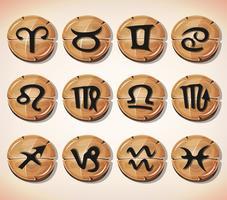 Segni zodiacali e icone impostate vettore