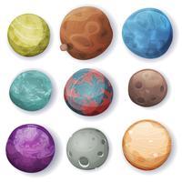 Set di asteroidi e pianeti comici vettore