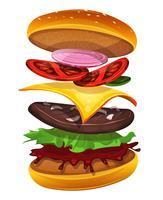 Icona dell'hamburger degli alimenti a rapida preparazione con gli strati degli ingredienti