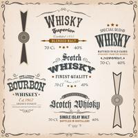 Etichette e guarnizioni del whiskey su fondo d'annata