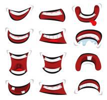 Set di emozioni di bocca comica