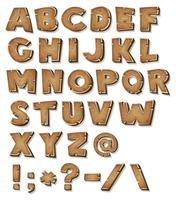 Alfabeto di legno comico vettore