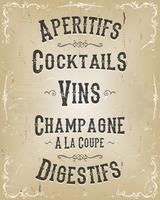 Menu Poster di alcol e bevande