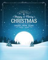 Cartolina del paesaggio di Natale vintage vettore