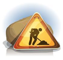 uomini al cartello stradale del lavoro