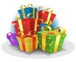 Pacchetto di regali di buon compleanno vettore
